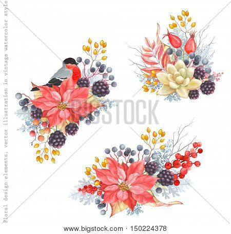 Collection of holidays decorations with bird Bullfinch, flowers Poinsettia, Blackberry, Rose Hips, Succulent, berries, leaves and branches. Vector illustration in vintage style.