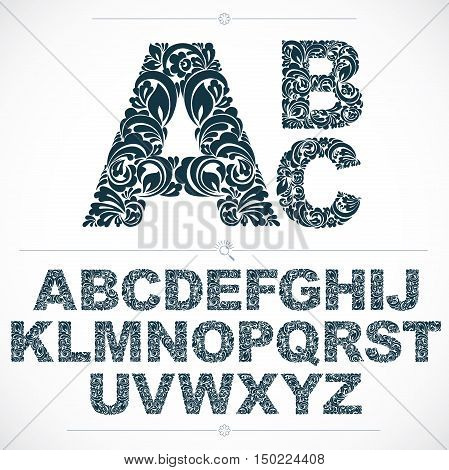 Set Of Beautiful Capital Letters Decorated With Herbal Ornament. Black And White Vector Typescript M