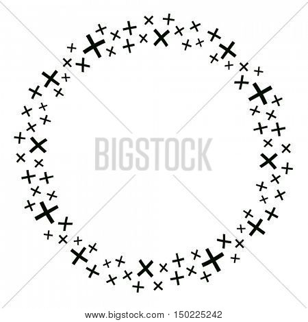 A round border made with 'plus' and 'multiplication' sign. A vector illustration.
