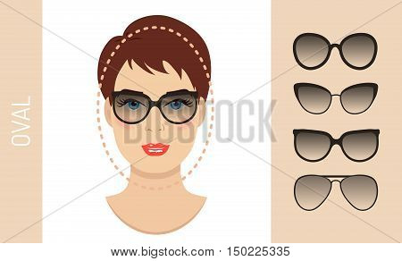 Woman sunglasses shapes for oval women face type. Various forms of summer glasses for oval face. Fashion collection. Vector set.
