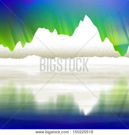 Artic pole with aurora graphic digitally landscape