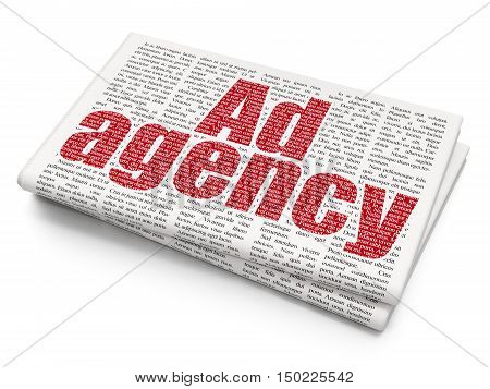 Advertising concept: Pixelated red text Ad Agency on Newspaper background, 3D rendering