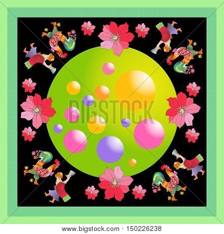 Lovely tablecloth or kerchief. Bandana print or silk neck scarf with beautiful ornament from flowers, balls and fairy birds. Vector illustration. Year of the rooster.