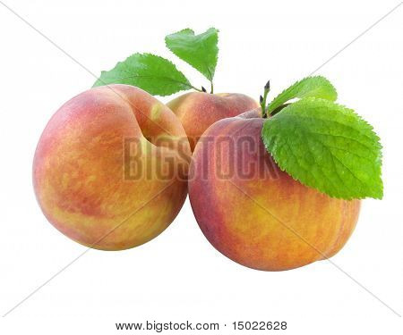 fresh peachs with green leafs isolated with clipping path included