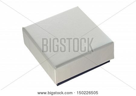 A grey jewelry box on white background