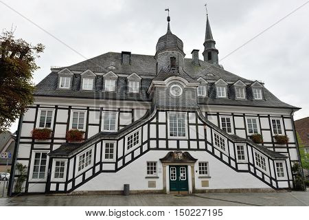 RIETBERG GERMANY - SEPTEMBER 05: The historic town hall of Rietberg on September 05 2015. Rietberg is a town in the district of Gutersloh in the state of North Rhine-Westphalia Germany