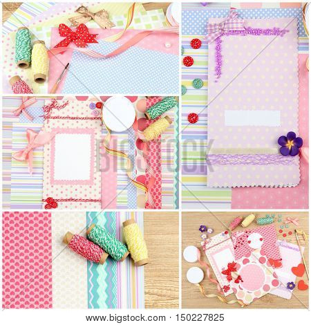 Scrapbooking collage. Handmade greeting card. Hobby and handicraft concept.