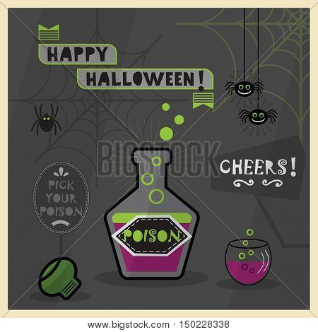 Happy Halloween card - Pick your poison spooky dark cartoon with bottle and a glass full of poison
