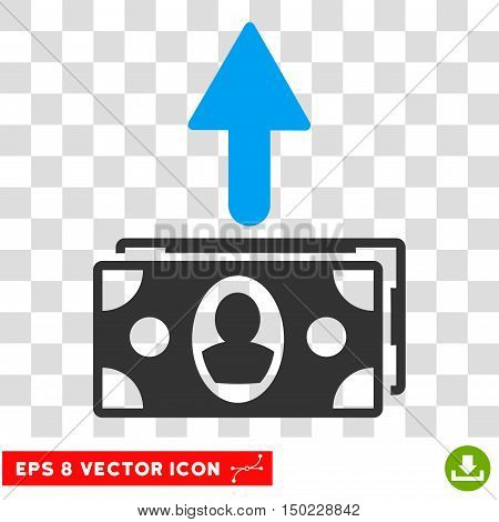 Spend Banknotes vector icon. Image style is a flat blue and gray pictogram symbol.