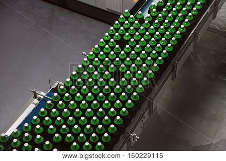 A production conveyor belt with beer bottles. Working and loading bottles for filling with beer in a brewery.