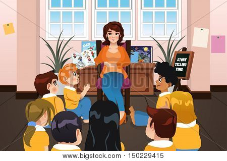 A vector illustration of a Preschool Teacher Reading a Book During Story Time