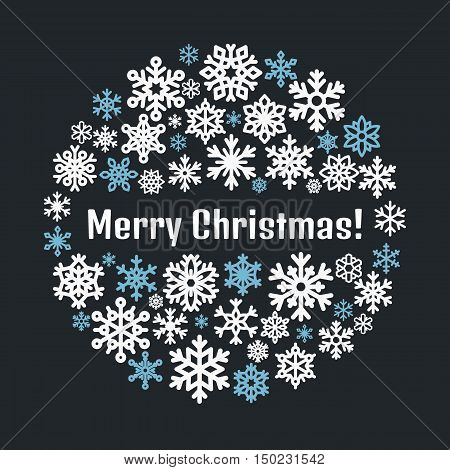 Merry christmas poster template. Vector circle illustration with snow flakes silhouette.
