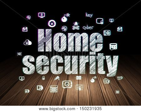Security concept: Glowing text Home Security,  Hand Drawn Security Icons in grunge dark room with Wooden Floor, black background