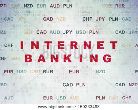 Banking concept: Painted red text Internet Banking on Digital Data Paper background with Currency