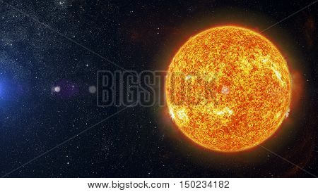 Image of Sun on nebula background 3d rendering.