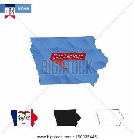 State Of Iowa Blue Low Poly Map With Capital Des Moines.