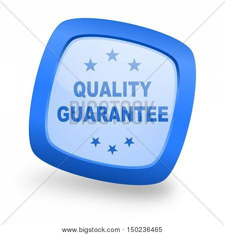 quality guarantee blue glossy web design icon