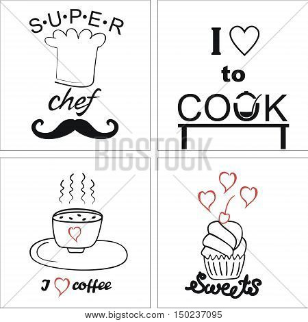 Four logo on the theme of cooking and food with inscriptions
