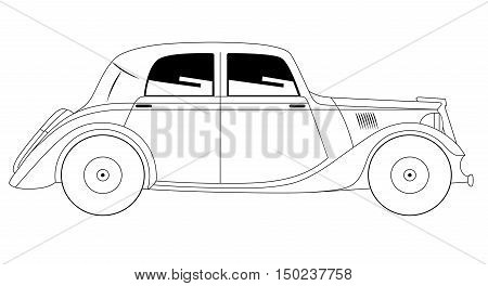 Vector illustration of the coupe - vintage model of car on white background