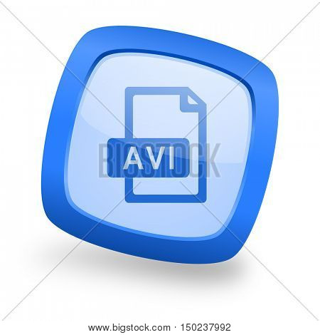 avi file blue glossy web design icon