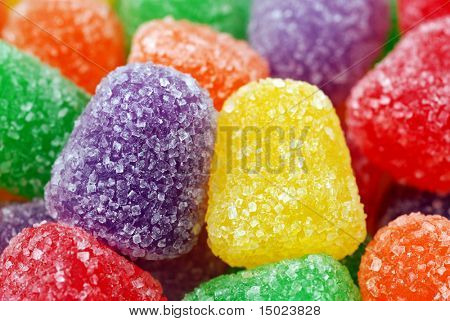 Macro image of spice gumdrops