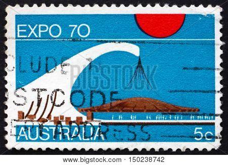 AUSTRALIA - CIRCA 1970: a stamp printed in Australia shows Australian Pavilion EXPO '70 International Exhibition Osaka Japan circa 1970