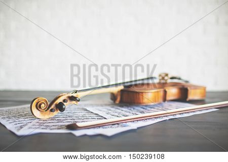 Side view of violin bow and music on light background. Concert concept