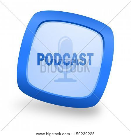 podcast blue glossy web design icon