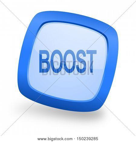 boost blue glossy web design icon