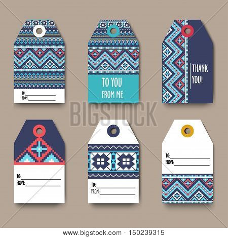 Set of geometric tribal colorful tags with Aztec pixel pattern, label templates, design elements, modern tribal pattern, gift card - stock vector