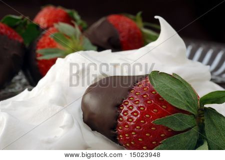 Chocolate covered strawberry nestled in a swirl of whipped topping with additional dipped berries in the background on a crystal plate.  Macro image with shallow dof and soft natural lighting.