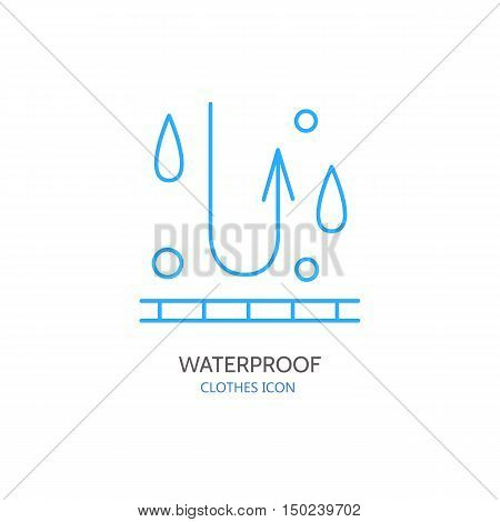 Water resistant vector line icon. Fabric feature garments property symbol. Water protection sign. Linear wear waterproof label textile industry pictogram for clothes.