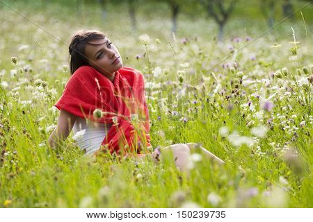 Thoughtful Woman In Field