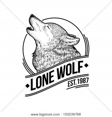 Vector illustration of a howling wolf, engraving. Print for T-shirts, emblem, logo, insignia
