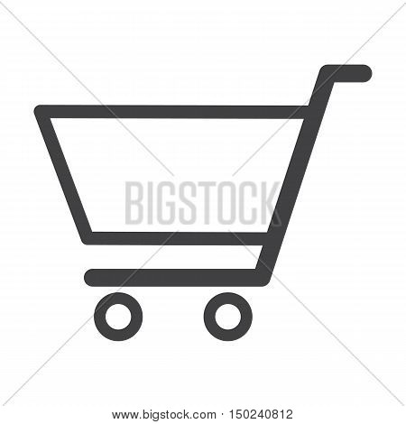 shop cart black simple icon on white background for web design