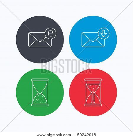 Hourglass, inbox mail and e-mail icons. Hourglass linear sign. Linear icons on colored buttons. Flat web symbols. Vector