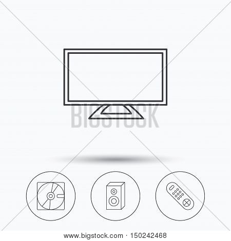 Sound, TV remote and hard disk icons. Widescreen TV linear sign. Linear icons in circle buttons. Flat web symbols. Vector