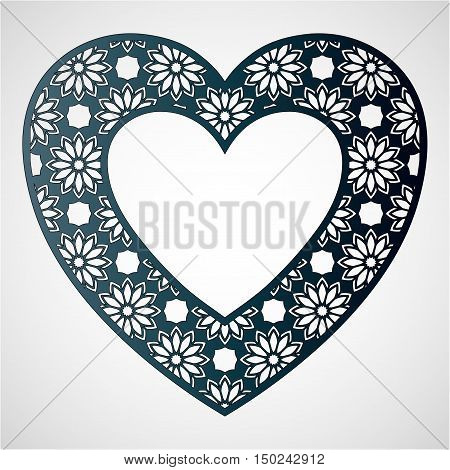 Openwork heart with floral pattern. Vector frame. Laser cutting template for greeting cards envelopes wedding invitations interior decorative elements.