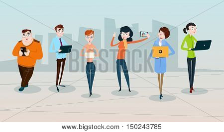 People Group Crowd Using Modern Gadgets Social Network Communication Flat Vector Illustration