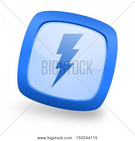 bolt blue glossy web design icon