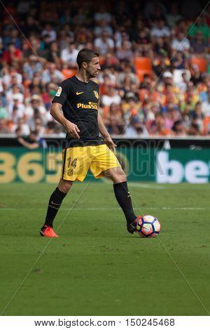 VALENCIA, SPAIN - OCTUBER 2nd: Gabi during Spanish soccer league match between Valencia CF and Atletico de Madrid at Mestalla Stadium on Octuber 2, 2016 in Valencia, Spain