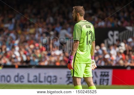 VALENCIA, SPAIN - OCTUBER 2nd: Jan Oblak during Spanish soccer league match between Valencia CF and Atletico de Madrid at Mestalla Stadium on Octuber 2, 2016 in Valencia, Spain
