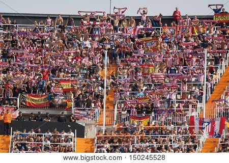 VALENCIA, SPAIN - OCTUBER 2nd: Atletico de Madrid Supporters during Spanish soccer league match between Valencia CF and Atletico de Madrid at Mestalla Stadium on Octuber 2, 2016 in Valencia, Spain