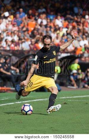 VALENCIA, SPAIN - OCTUBER 2nd: JuanFran during Spanish soccer league match between Valencia CF and Atletico de Madrid at Mestalla Stadium on Octuber 2, 2016 in Valencia, Spain