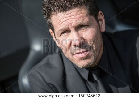 VALENCIA, SPAIN - OCTUBER 2nd: Cholo Simeone during Spanish soccer league match between Valencia CF and Atletico de Madrid at Mestalla Stadium on Octuber 2, 2016 in Valencia, Spain