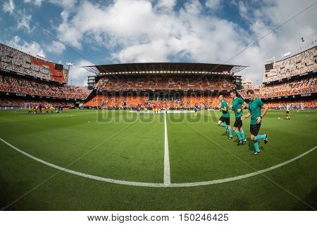 VALENCIA, SPAIN - OCTUBER 2nd: Referees Team during Spanish soccer league match between Valencia CF and Atletico de Madrid at Mestalla Stadium on Octuber 2, 2016 in Valencia, Spain
