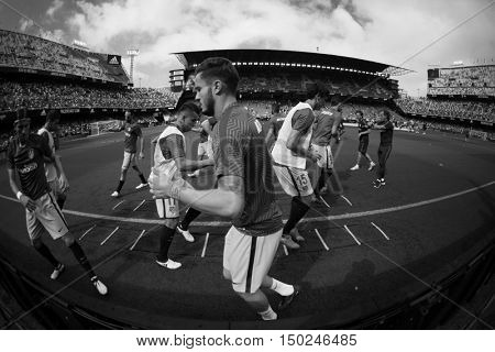 VALENCIA, SPAIN - OCTUBER 2nd: Atletico de Madrid Team during Spanish soccer league match between Valencia CF and Atletico de Madrid at Mestalla Stadium on Octuber 2, 2016 in Valencia, Spain