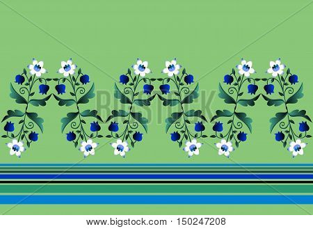 Herbaceous border with white and blue flowers and stripes. Beautiful vector illustration. Narcissus and lily of the valley.