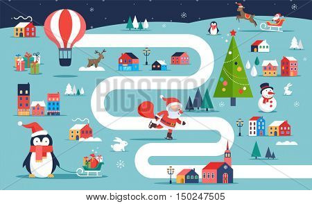 Christmas village map, winter town, board game with illustrations, icons and characters. Merry Christmas background