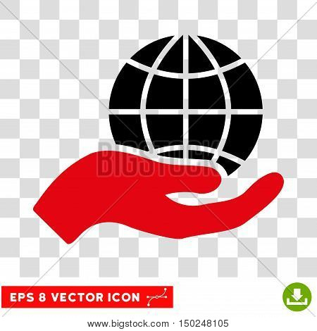 Vector Global Care Hand EPS vector pictogram. Illustration style is flat iconic bicolor intensive red and black symbol on a transparent background.